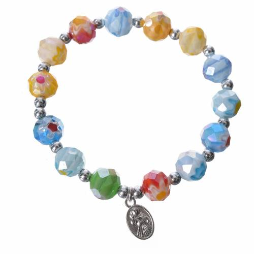 Bracelet in coloured glass with Our Lady of Medjugorje s2