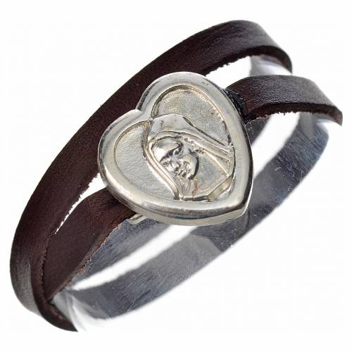 Bracelet in dark brown leather with Virgin Mary pendant s1