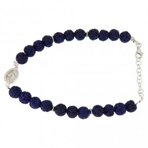 Silver bracelets: Bracelet in silver and blue lava stone, with Saint Rita medalet and white zircons