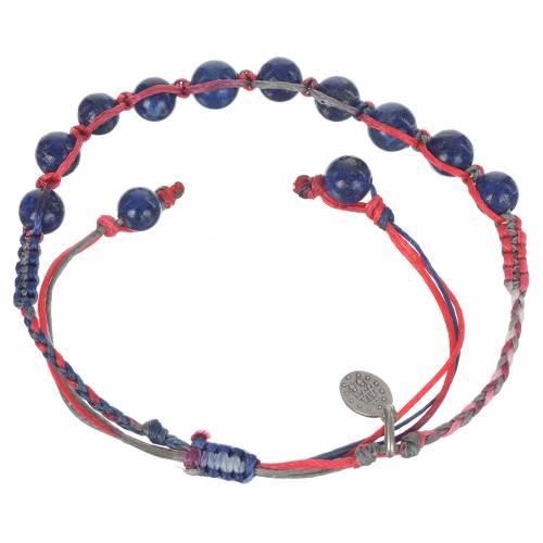Bracelet Lapis-Lazuli Méd. Miraculeuse Arg 925 cordon multicolore s2