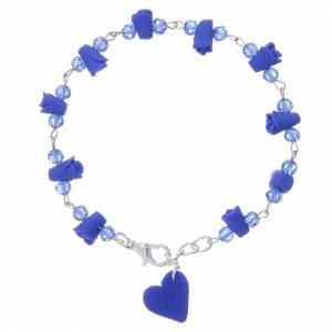 Bracelet Medjugorje bleu coeur et roses céramique s2