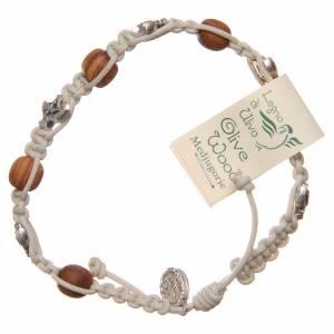 Bracelet Medjugorje corde beige grains bois olivier s2