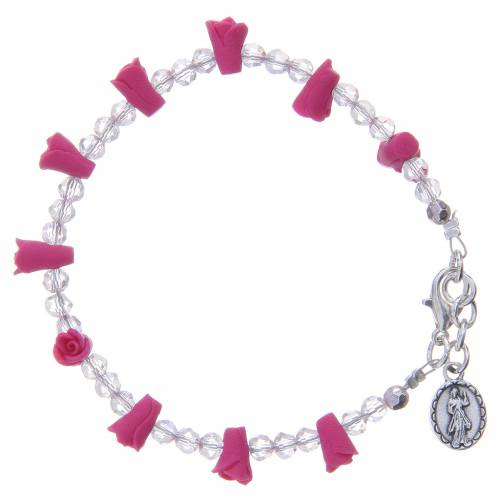 Bracelet Medjugorje fuchsia icône Vierge s2