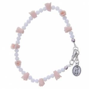 Bracelet Medjugorje icône Vierge roses céramique grains cristal s2