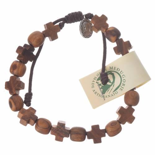 Bracelet olivier Medjugorje grains croix s1