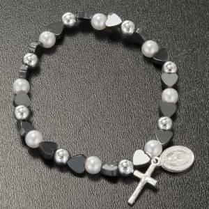 Bracelets divers: Bracelet religieux élastique coeurs 5mm