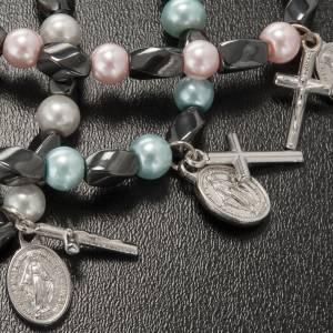 Bracelet religieux élastique hématite et imitation perle s4