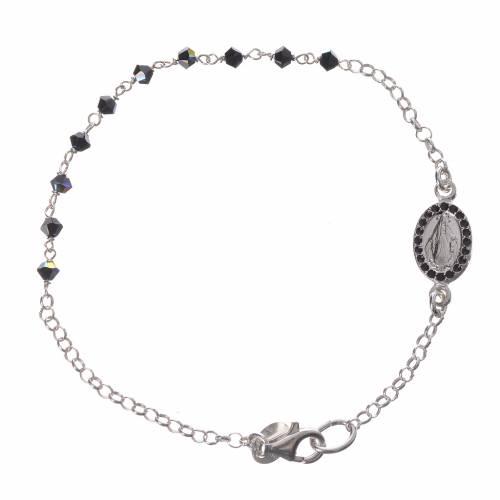 Bracelet Single Decade silver 800 Swarovski black 3mm s1
