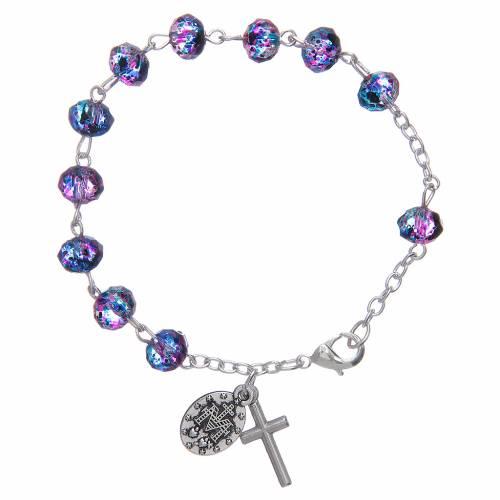 Bracelet sur chaîne avec grains à facettes en verre violet/noir s2