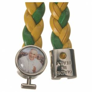 Bracelet tressé 20 cm Pape François jaune/vert s2