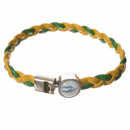 Bracelet tressé 20 cm Vierge Miraculeuse jaune/vert s1