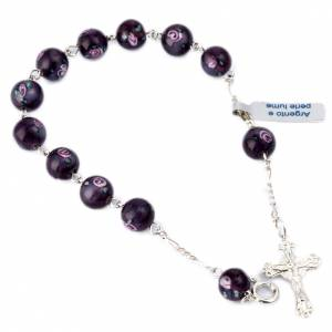 Silver bracelets: Bracelet with 0,31in purple Perle a Lume venetian beads