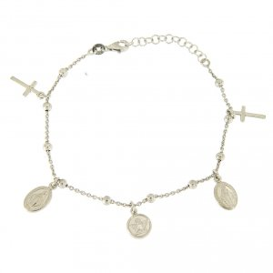 Silver bracelets: Bracelet with charm cross and medalets in 925 sterling silver