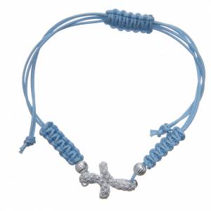 Gold and silver bracelets: Bracelet with cross in 800 silver and light blue cord