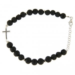 Silver bracelets: Bracelet with lava stone beads and black zirconate cross