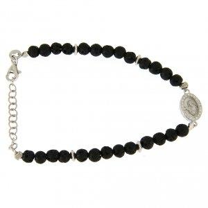 Silver bracelets: Bracelet with lava stones and Saint Rita medalet insert with white zircons