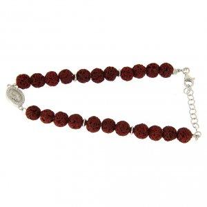 Silver bracelets: Bracelet with red lava stones 6,5 mm, white zirconate Saint Rita medalet in 925 sterling silver