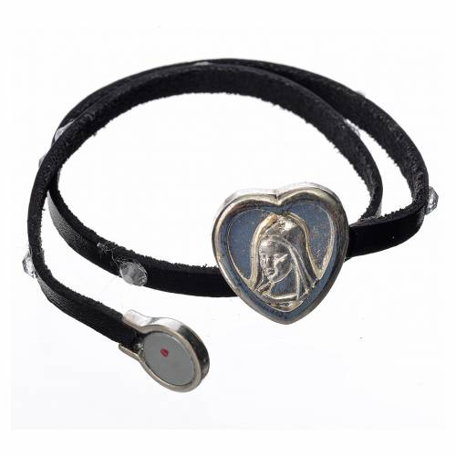 Bracelet with Swarovski, black leather, Virgin Mary pendant s2