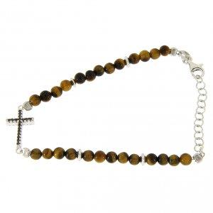 Silver bracelets: Bracelet with tiger's eye beads, silver and zirconate cross