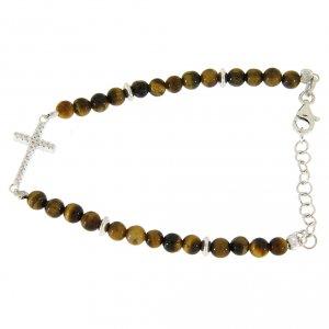 Silver bracelets: Bracelet with tiger's eye beads, white zirconate cross in 925 sterling silver