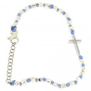 Silver bracelets: Bracelet with white zirconate cross, 2 mm cubic spheres and light blue knots