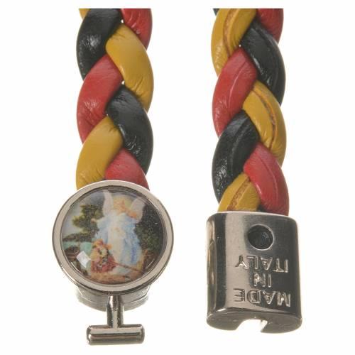 Braided bracelet, 20cm yellow, black, red Angel s2