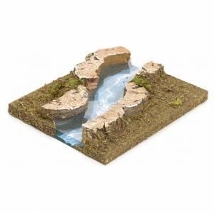 Ponts, ruisseaux, palissades pour crèche: Bras de rivière courbes pour crèche 14x16