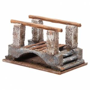 Bridge for nativity with railing in wood 10x18x11cm s2