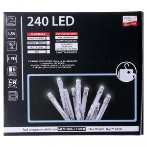 Bright Christmas cable 240 leds multicoloured with memory and timer external use with batteries s5