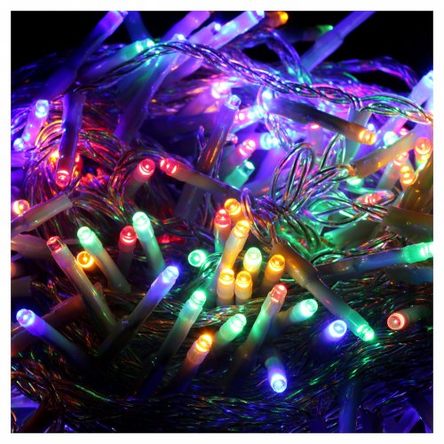 Bright Christmas cable 240 leds multicoloured with memory and timer external use with batteries s3