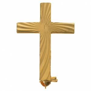Broche Cruz Clergyman dorada plata de ley s1