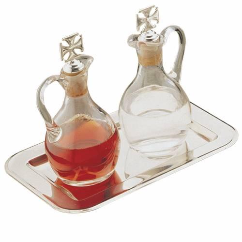 Burettes eau et vin Molina cristal et acier s1