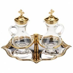 Burettes en verre et plateau doré nikelé s1