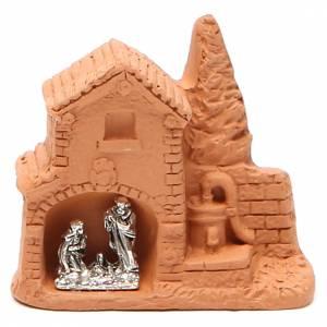 Belén terracota Deruta: Cabaña y natividad miniatura terracota natural 6x7x3 cm