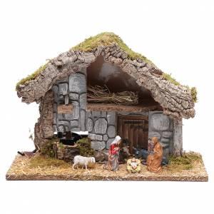 Maisons, milieux, ateliers, puits: Cabane avec fontaine 26x37x15 cm