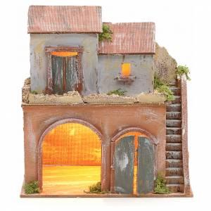 Cabane illuminée avec étable crèche Naples s1