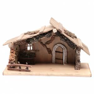 Maisons, milieux, ateliers, puits: Cabane vide en bois massif et liège 26,5x42,5x18,5 cm