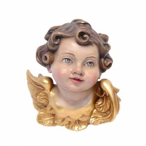 Cabeza de ángeles madera pintada Val Gardena s1