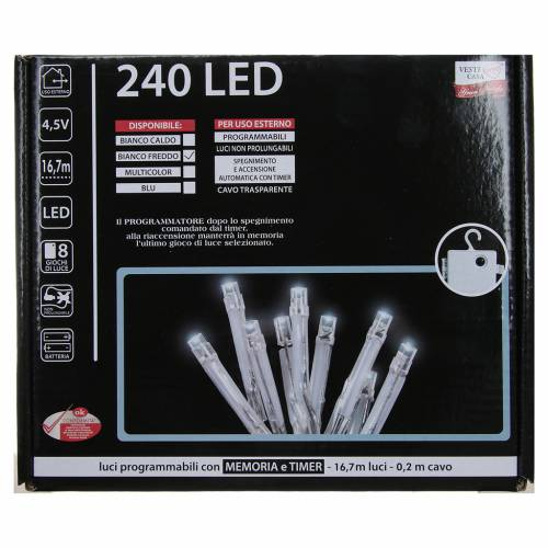 Cadena de luces de Navidad 240 LED blanco frío programables con batería para exterior s4