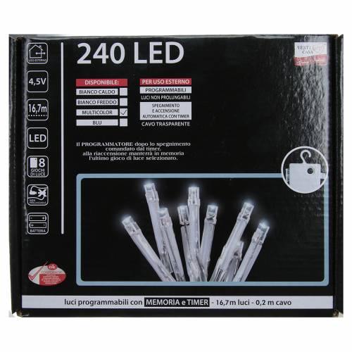 Cadena de luces de Navidad 240 LED multicolor programables con batería para exterior s4