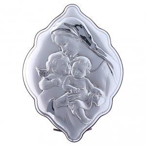 Bas reliefs en argent: Cadre amande en bi-laminé avec arrière en bois massif Marie Enfant Jésus et Ange 31x21 cm