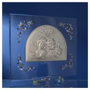 Cadre Baptême automne avec anges Swarovski ambre s3