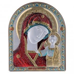 Bas reliefs en argent: Cadre bi-laminé support bois massif finitions dorées Notre-Dame de Kazan rouge 16,7x13,6 cm