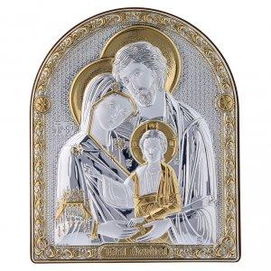 Bas reliefs en argent: Cadre bi-laminé support bois massif finitions dorées Sainte Famille 16,7x13,6 cm