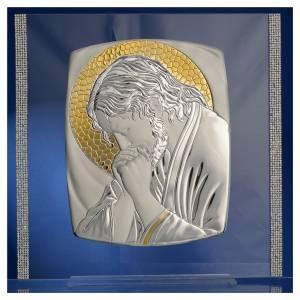 Cadre Christ Argent et strass 32x32 cm s2