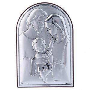 Bas reliefs en argent: Cadre en bi-laminé avec support en bois massif Sainte Famille 12x8 cm