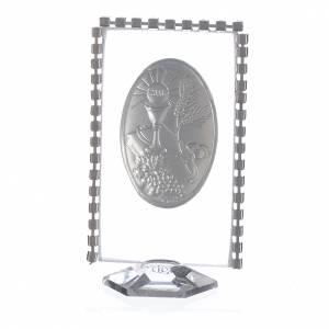 Cadre ovale Communion et strass 8x4,5 cm s2