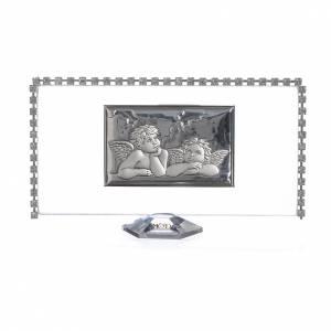 Bonbonnières: Cadre rectangulaire Anges et strass 12x6 cm