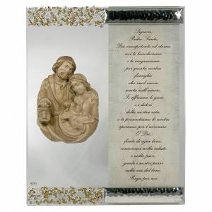 Bonbonnières: Cadre sculpture Ste Famille argent cristal prière ITA