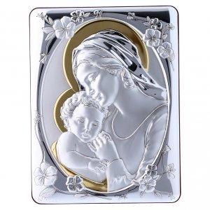 Bas reliefs en argent: Cadre Vierge Jésus bi-laminé avec arrière bois massif or 21,6x16,3 cm<br>